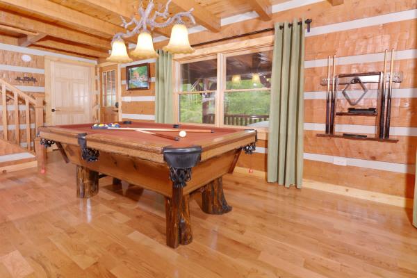 Custom log slate-top pool table