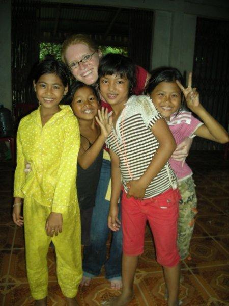 Cambodian Island Village Children w/ GCI's Julia Weber