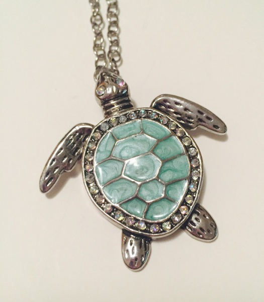 Crystal & Enamel Painted Sea Turtle Pendant