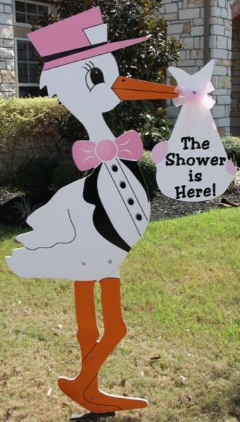 Shower stork sign decor