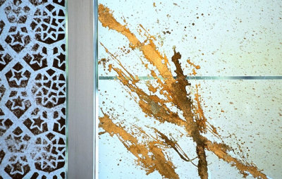 screen-printing and gold leaf on glass at the embassy of kuwait