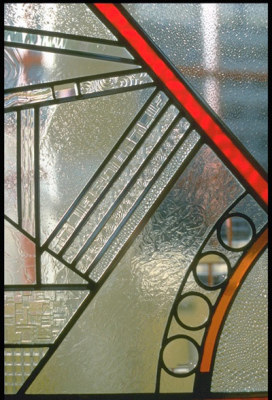 lenses, textured glass and prisms in the stained glass windows