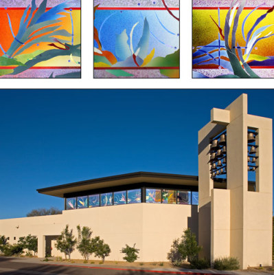 concert hall in Arizona has windows made of magical, colourful desert plants