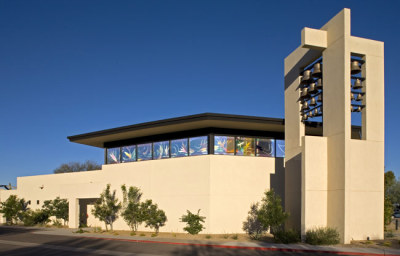 conert hall in Arizona with bell tower and stained glass by Sarah Hall