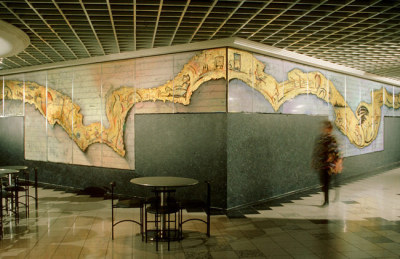 gold leaf mural in major bank's business centre