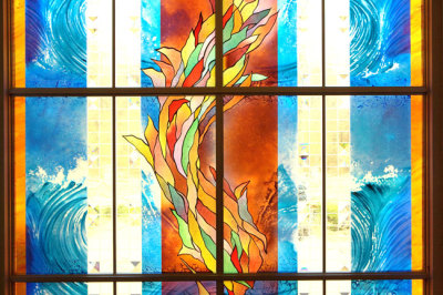 fire, water and light in stained glass by sarah hall