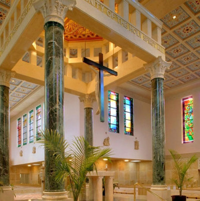 stained glass windows transform interior of St. Catherine of Siena Parish Church in Columbus, Ohio