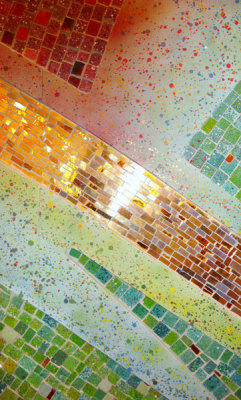 "glass mosaic detail from ""Wondrous Love"" at St. Barnabas Campus in Scottsdale"