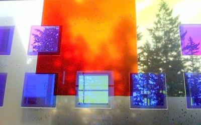 detail of Sarah Hall's transparent dichroic art glass