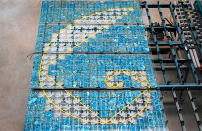 Sarah Hall's blue solar cells and art glass in production in Germany