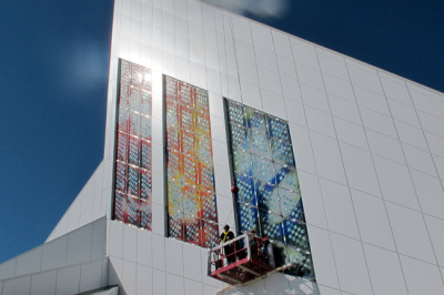 Sarah Hall's solar windows being installed at the cathedral in Saskatoon