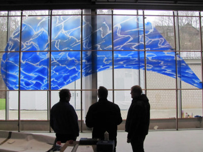 "standing in the studio looking at Sarah Hall's ""waterglass"" in progress"