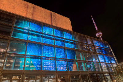 blue water images on Harbourfront building painted by glass artist Sarah Hall