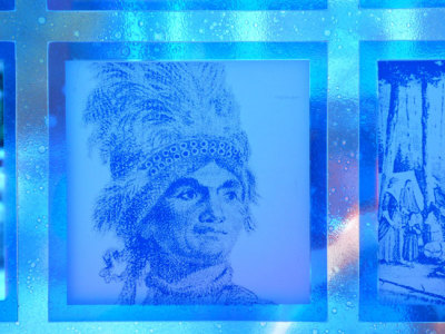 chief joseph brant appears in a window at Harbourfront