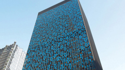 office building with solar glass that stops bird collisions
