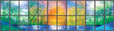 """Incarnation"" window of trees, water and golden light by Sarah Hall"