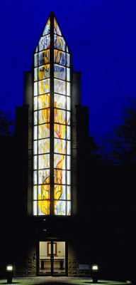 a spiral of fire and flame in stained glass by Sarah Hall