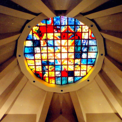 oculus stained glass skylight inspired by pilgrimage to Santiago de Compostela in Spain