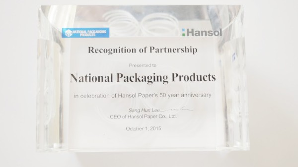 Hansol Recognition of Partnership Award