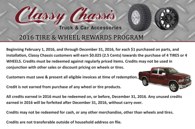 CLASSY CHASSIS WHEEL & TIRE REWARDS PROGRAM