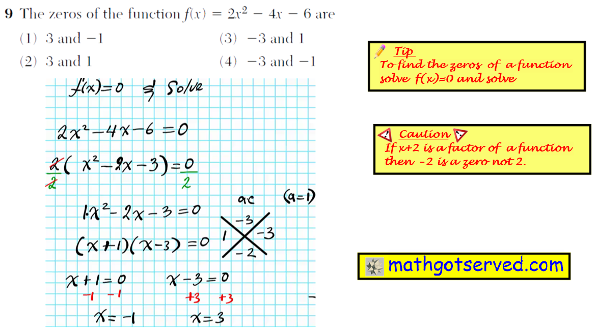 Problme 9 NYS Regents Common Core Algebra 1 2016