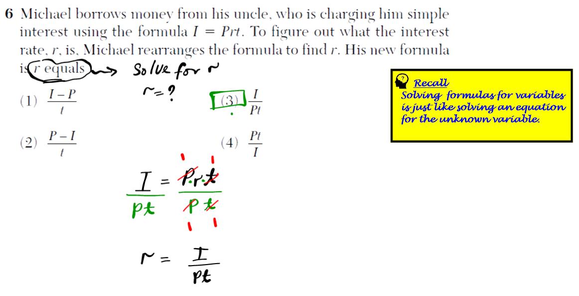 Problem 6 NYS Regents Common Core Algebra 1 2016 January