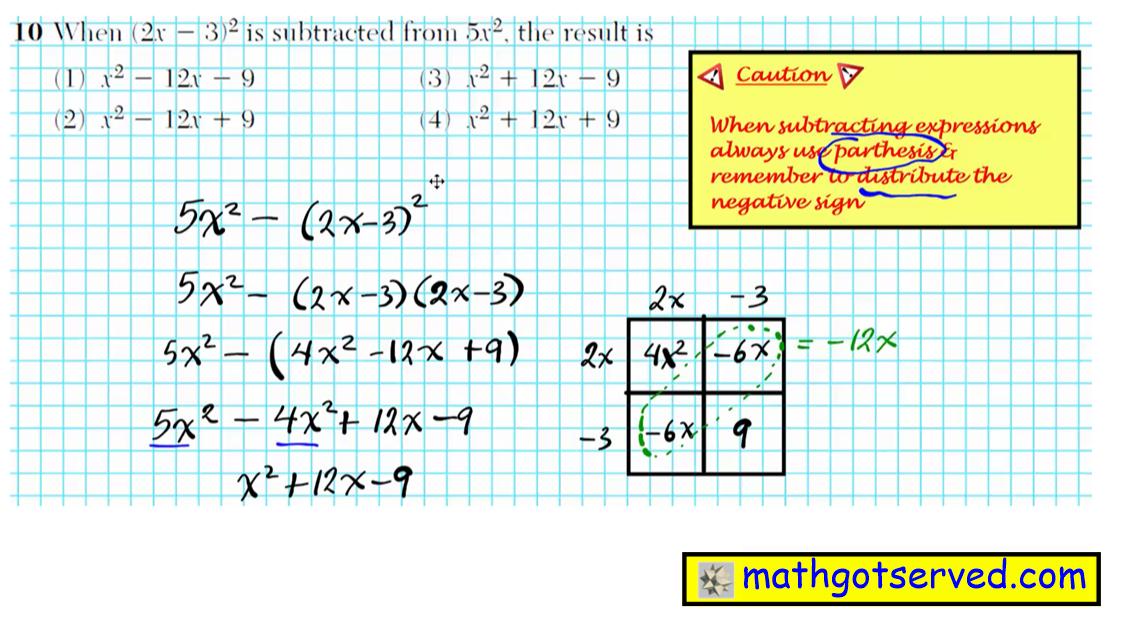 Problem 10 NYS Regents Common Core Algebra 1 2016