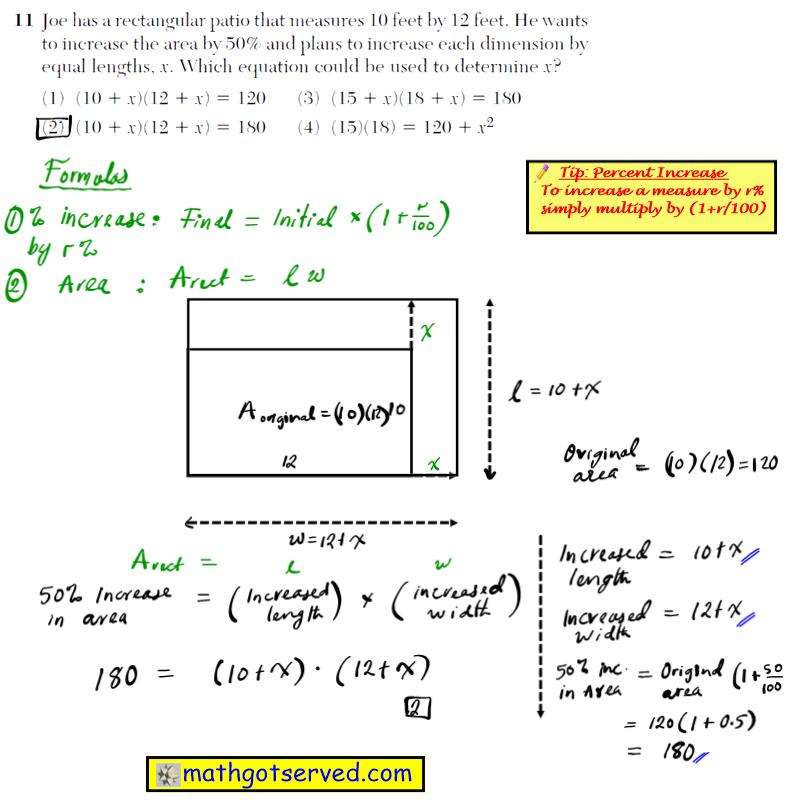 Problem 11 NYS Regents Common Core Algebra 1 2016