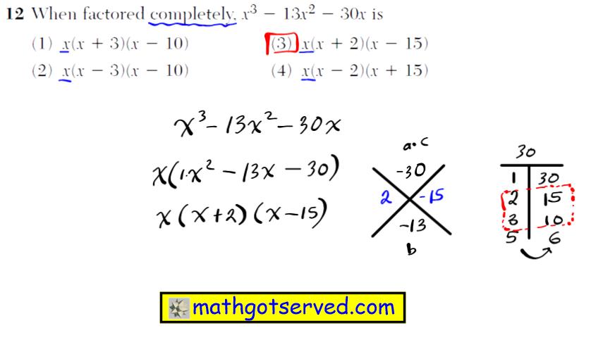 Problem 12 NYS Regents Common Core Algebra 1 2016