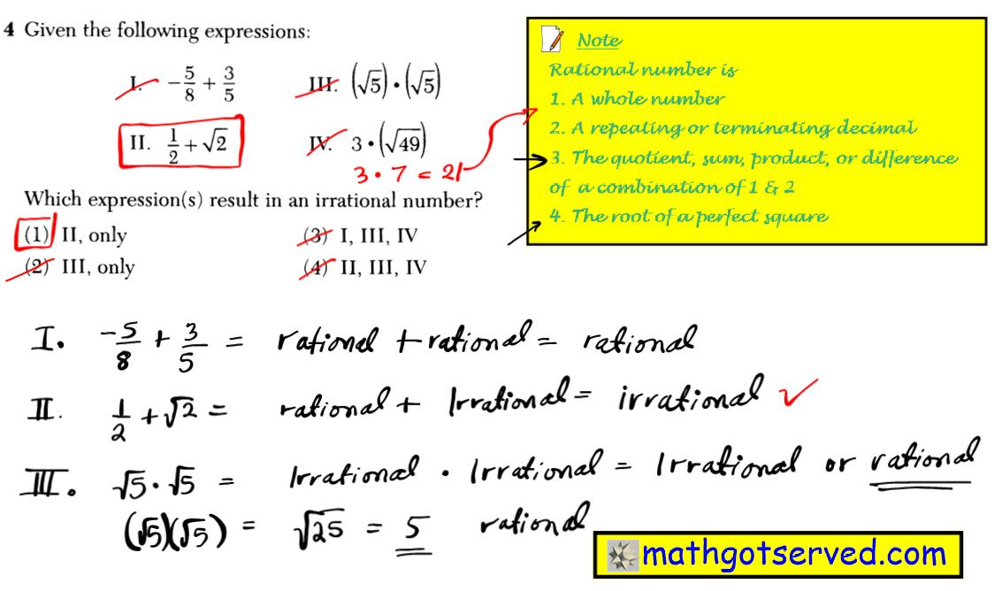 Problem 4  NYS Regents Common Core Algebra 1 2016 January