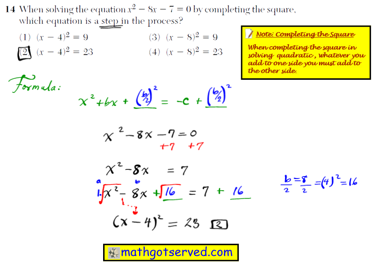 Problem 14 NYS Regents Common Core Algebra 1 2016 January