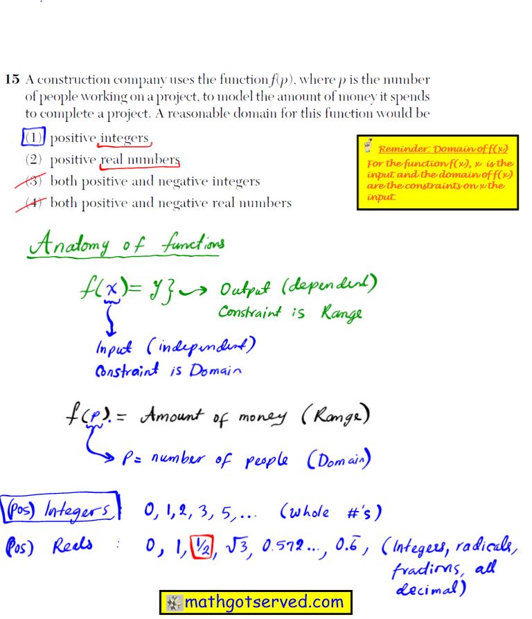 Problem 15 NYS Regents Common Core Algebra 1 2016 January