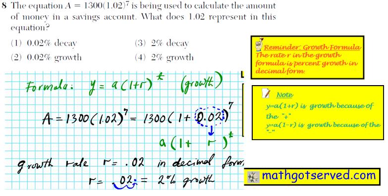 Problem 8  NYS Regents Common Core Algebra 1 2016