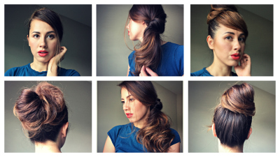 How to: 3 Easy HairStyles for casual to formal within 3minutes!(Messy Ban, Side Twist and Faux Bang)