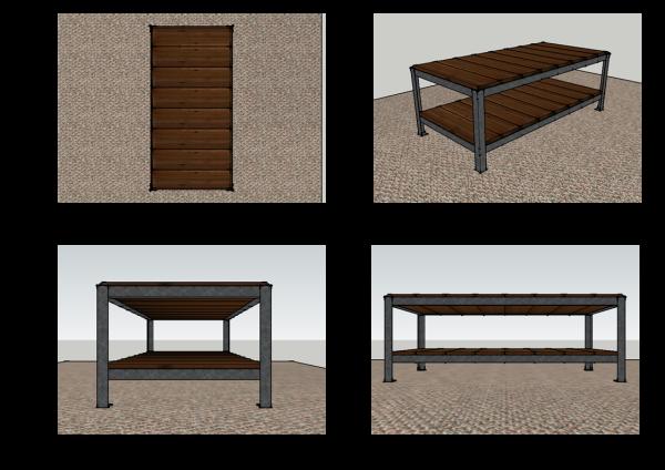 metal & wood coffee table