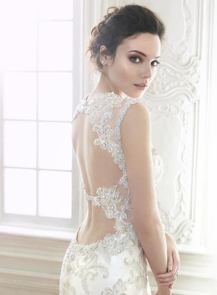 Mercedes maggie sottero cap sleeve lace sparkle tulle fit flare slim belt sequins pewter