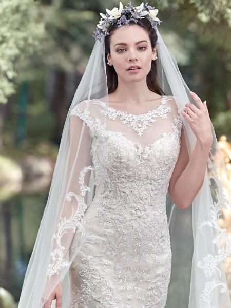 Mercedes maggie sottero high neckline lace sparkle tulle fit flare slim belt sequins