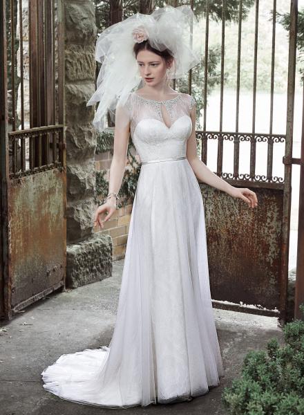 Cambridge maggie sottero high neckline crystal sparkle lace tulle pearl slim belt