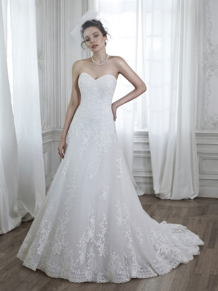 Corrina maggie sottero strapless lace  tulle a-line