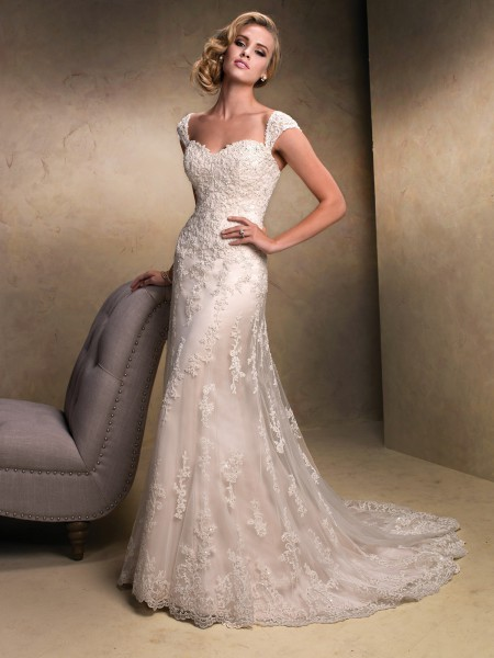 Emma maggie sottero strapless cap sleeves lace sparkle tulle a-line