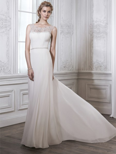 Farah maggie sottero high neckline pearl sparkle chiffon slim belt