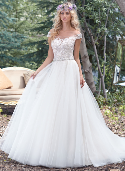 montgomery maggie sottero off shoulder lace sparkle tulle ball gown