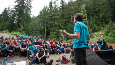 A big crowd of boulderers! Me thanking our sponsors and naming winners after Rumble in the Jungle