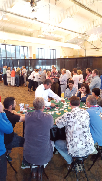The record is 14 players playing at this SUPER-SIZED BLACKJACK TABLE.