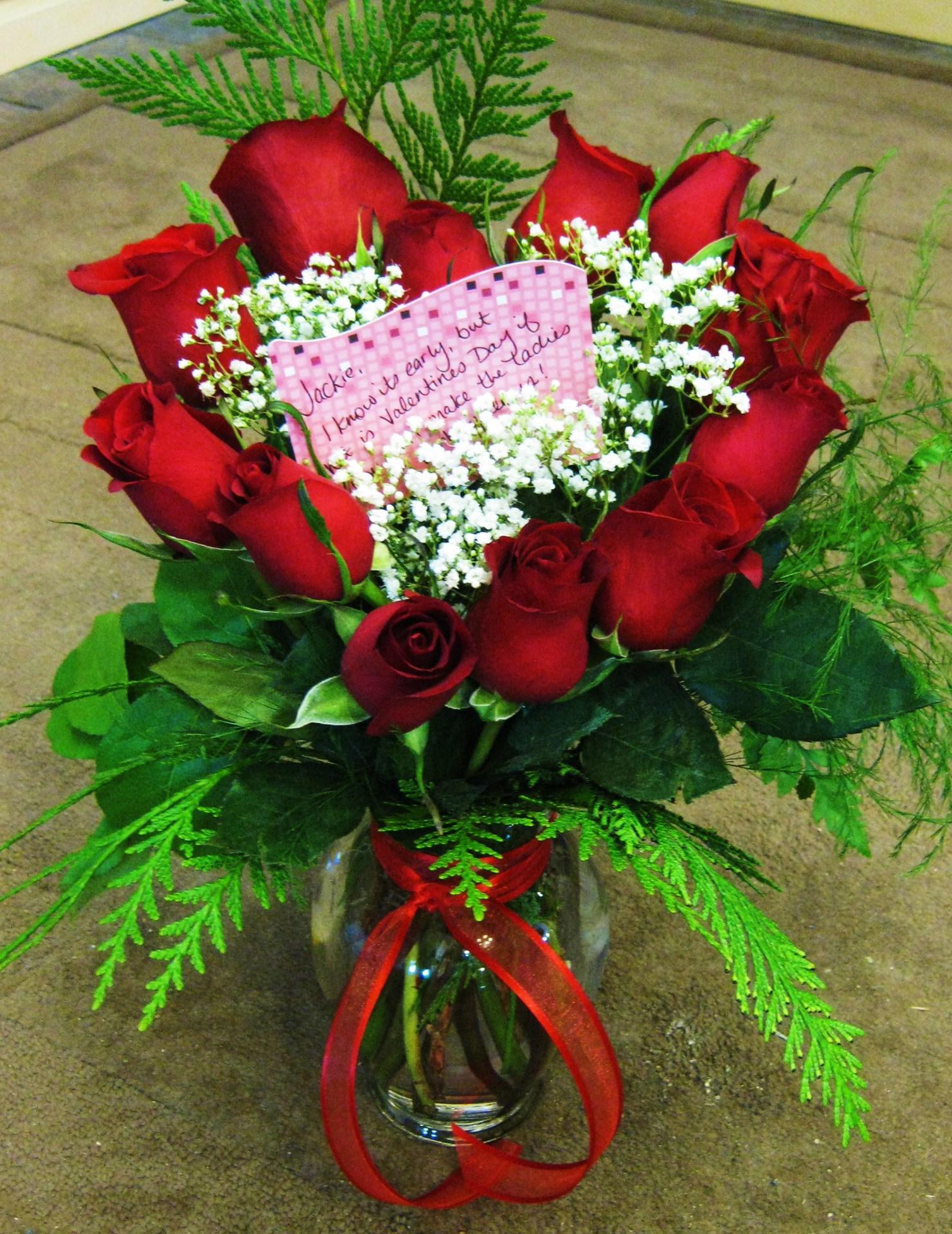 1 dozen HEART roses
