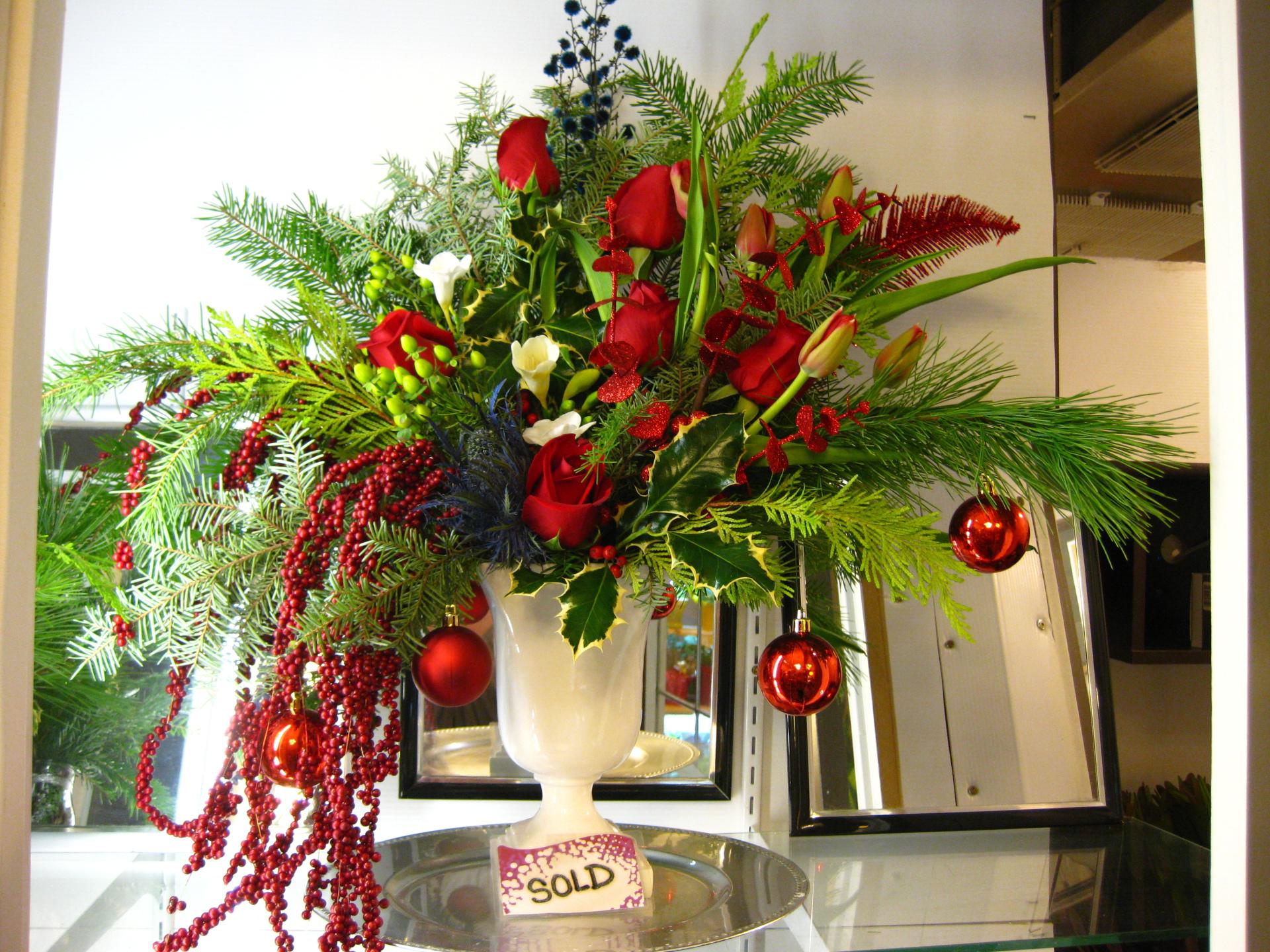 big, christmas, winter, vase, evergreen, pine, holiday, ornament