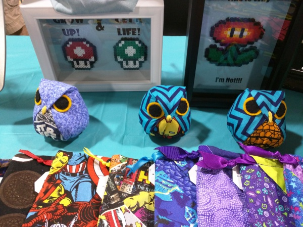 Shadow boxes and hand-made owls