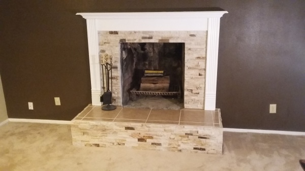 Complete fireplace and mantle renovation