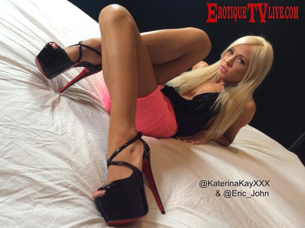 Katerina Kay on bed on ErotiqueTV