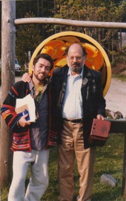 With Allen Ginsberg, Hollyhock 1984.